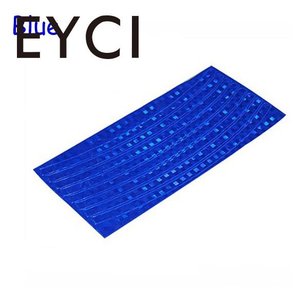 EYCI 4Pcs Fluorescent MTB Bike Bicycle Cycling Motorcycle Wheel Tire Tyre Reflective Stickers Decal Tape Blue