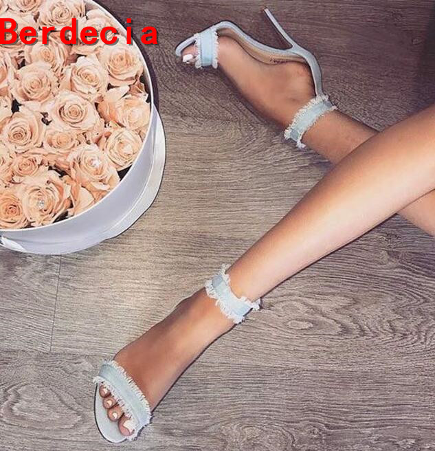 ФОТО 2017 newest light blue high heel shoes sexy open toe denim sandal for woman ankle strap thin heels gladiator shoes