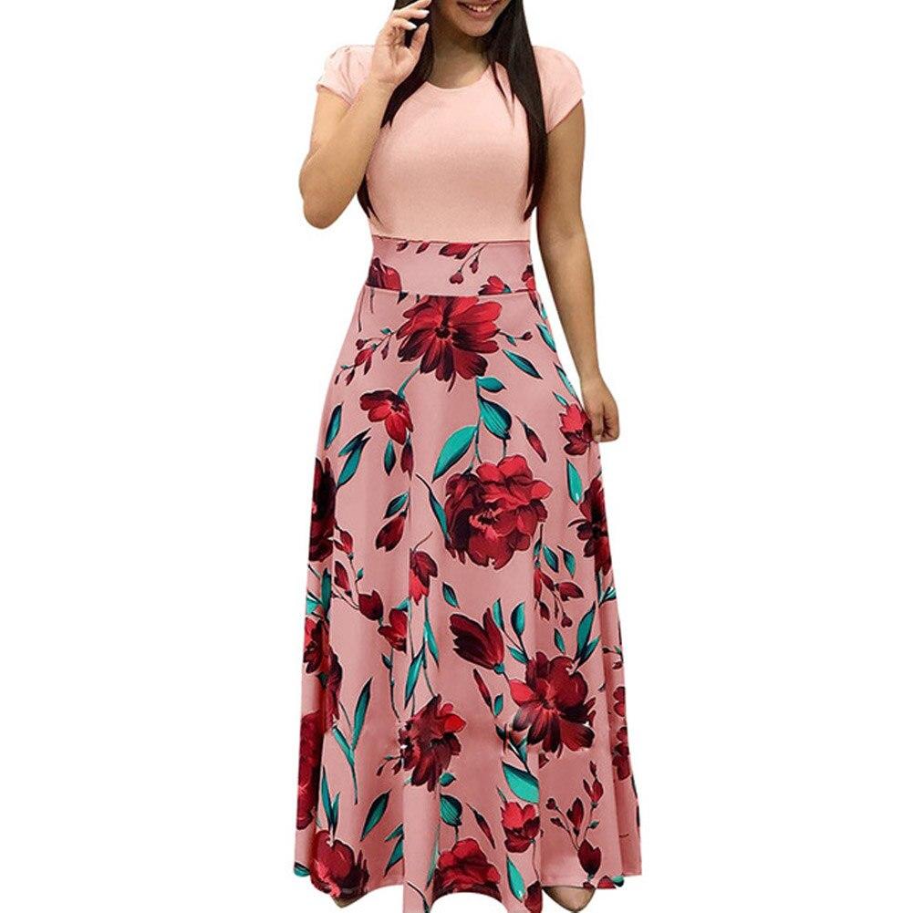 2018 Summer Fashion Women Plus Size Swing Dresses Elegant Short Sleeve Round Neck Fresh Floral Print Patchwork Long Maxi Dress