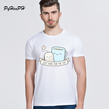 Newest White Tops Just Here For The Tea Print O-Neck Short Sleeve Modal T-shirts funny Tea Cup tees men 9133