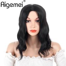 Aigemei Synthetic Body Wave Wigs  Black Color Short Bob No Lace Glueless Heat Resistant T Part For Women 16inch