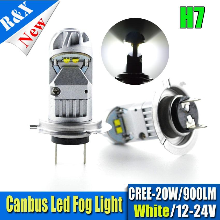 Pair 20W H7 4SMD Canbus error free LED Bulb Car Fog Light AC 12V~24V 320 Degree White Fog Lamp bulb 900lm 3156 12w 600lm osram 4 smd 7060 led white light car bulb dc 12v