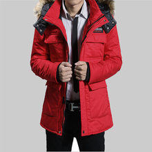 2016 winter men's cotton men's long section thick coat jacket tide lovers Korean male padded A017