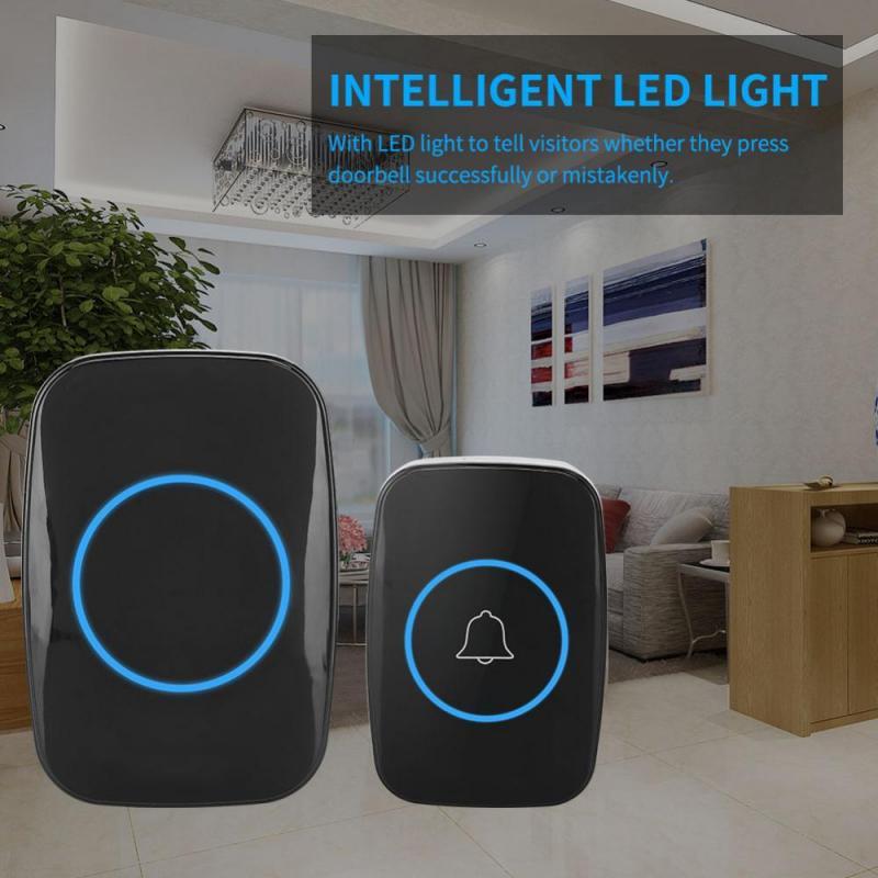 Music LED Wireless Doorbell Waterproof door bell Outdoor Transmitter Indoor Receiver door ring 300m Remote Control Black
