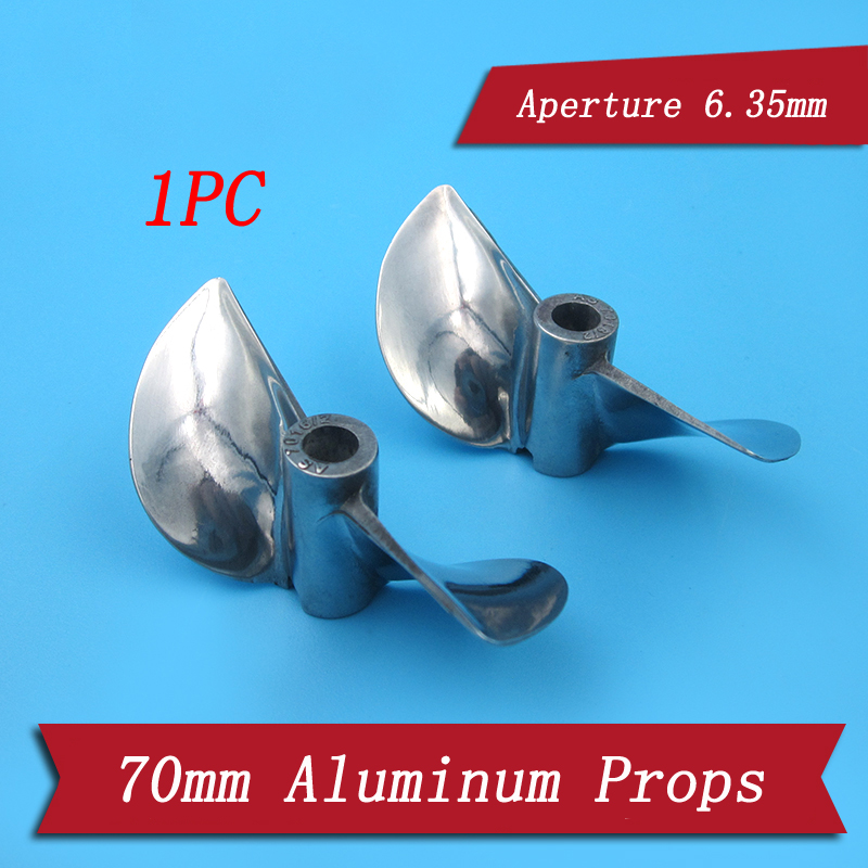 1PC 1/4 2 Blades Propeller Aperture 6.35mm Dia 70mm P1.6 Aluminum Paddle Props Spare Parts for RC Gasoline Boat O Yacht Model