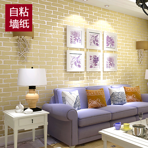 Non woven stickers self adhesive wallpaper white 3d brick for White self adhesive wallpaper
