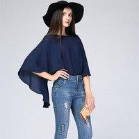 Verano nueva suelta cuello redondo camisa de La Gasa del cabo del capote Rojo Azul más el tamaño XL 2XL 3XL 4XL 5XL 6XL Elegante y elegante blusa