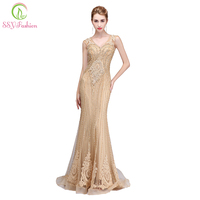 SSYFashion Новый высокого класса Русалка вечернее платье Роскошные Шампанское золотые кружева аппликации Бисер рыбий хвост v образным вырезом П