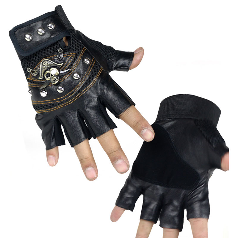 Jedi Survival Half Finger Gloves Skull Outdoor Men And Women Leather PU Tactical Riding Pirate Imitation Leather Gloves D12
