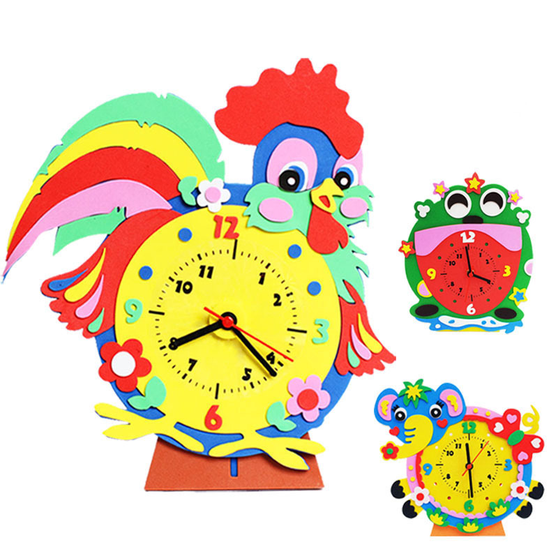 Toys For Children Crafts Kids DIY Movable 3D Sticker Cartoon Clock Kindergarten Learning Education Toys Montessori Teaching Aids