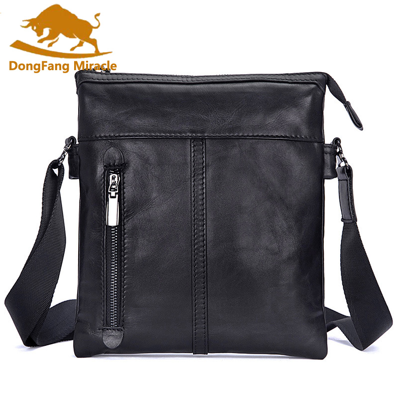 DongFang Miracle Crossbody Bags Shoulder Bag Men Genuine Leather Messenger Bag Zipper Cell Phone Pocket Small Bags ultra-thin westal crossbody bags shoulder bag men genuine leather messenger bag zipper cell phone pocket black business small bags 1023