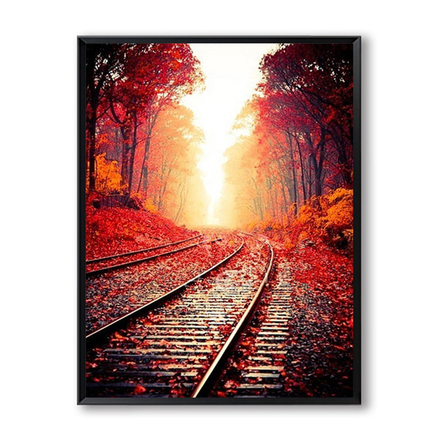 Autumn Railway DIY Painting By Numbers Landscape Modern Wall Art Painting Picture By Numbers For Home Decor Cuadros SZH-901
