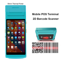 Portable PDA Android with built in thermal printer Handheld 2D QR code PDA Barcode Scanner and printer pos terminal недорого