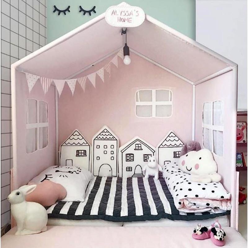 4 pièces nouveau-né bébé lit pare-chocs petite maison dessin animé protecteur berceau pare-chocs enfants jouets bébé lit clôture infantile literie fournitures