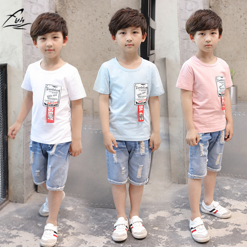 FYH Kids Clothing Set Boys Summer Casual Suit Cotton Short Sleeved T-shirt Denim Shorts Children baby boys 2Pcs School Boys Set european and american style brand children s clothing children summer cotton short sleeved t shirt baby girls t shirt 50158