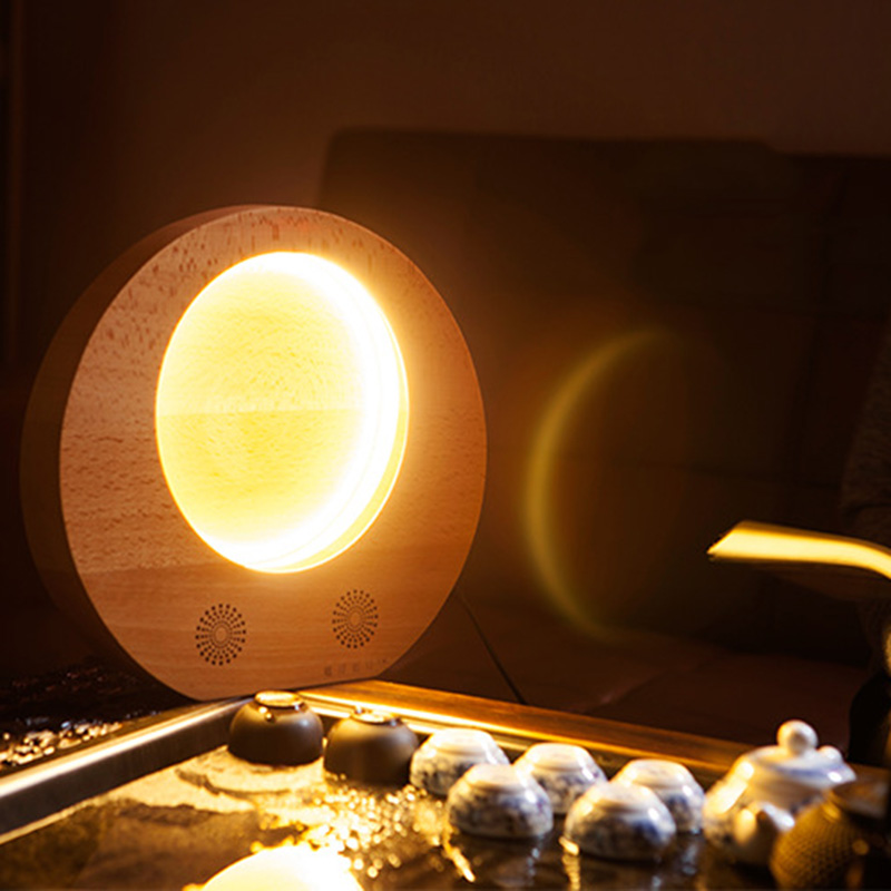 лучшая цена Wooden Moon Light LED Moon Night Light Bluetooth Speaker Music Player for Midautumn LB88