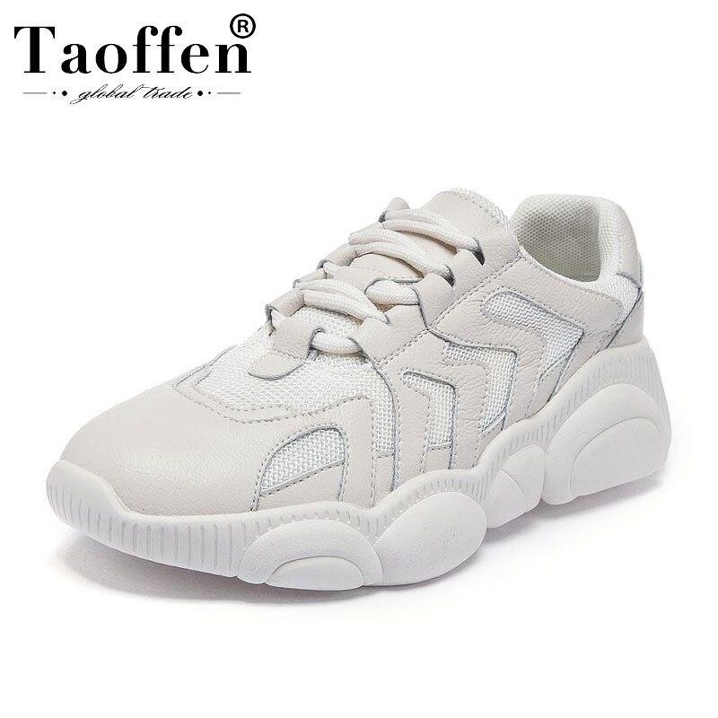 Taoffen Panier Tendance Femme Baskets Femmes Maille Respirant à lacets Chaussures Vulcanisées décontracté Plate-Forme Chaussures Femmes Taille 34-39