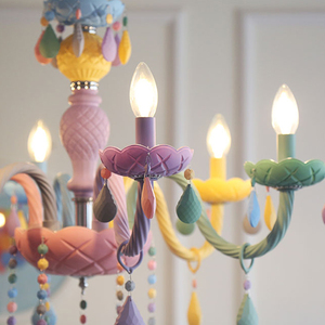 Image 5 - Crystal Chandelier Children Bedroom light colorful glass living room chandeliers Fantasy Luminaire Stained Glass Lustre