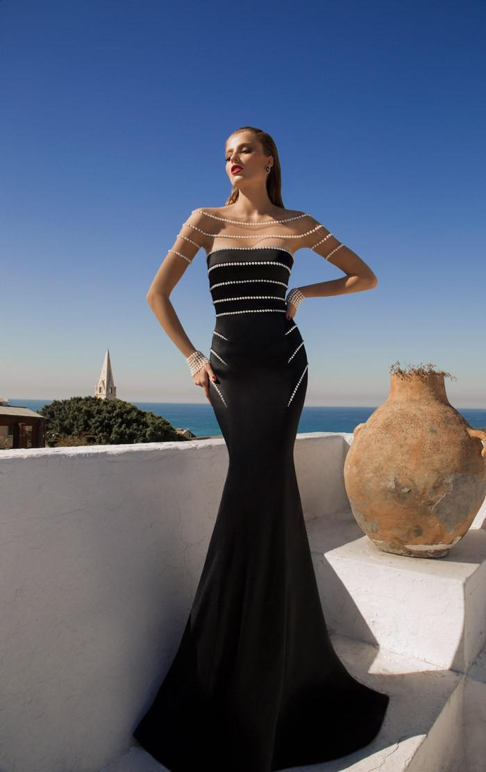free shipping robe de soiree 2016 new fashion hot vestido de festa pearls party gown black long sleeve chiffon   evening     dresses