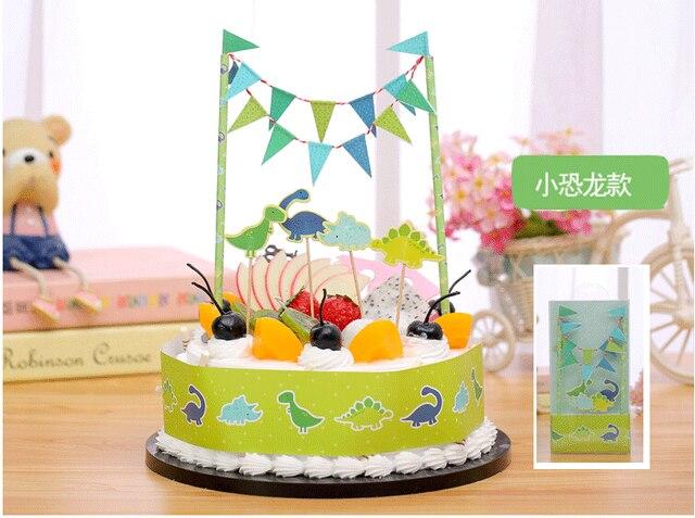 Happy Birthday Popular DIY Cake Flag Cartoon Dinosaur Cake Wrapper