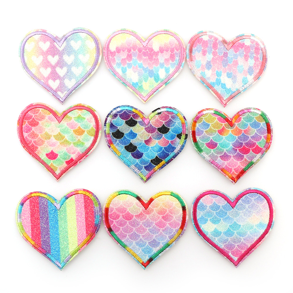 Iron on Applique//Embroidered Patch Heart Balloons Red//Rainbow