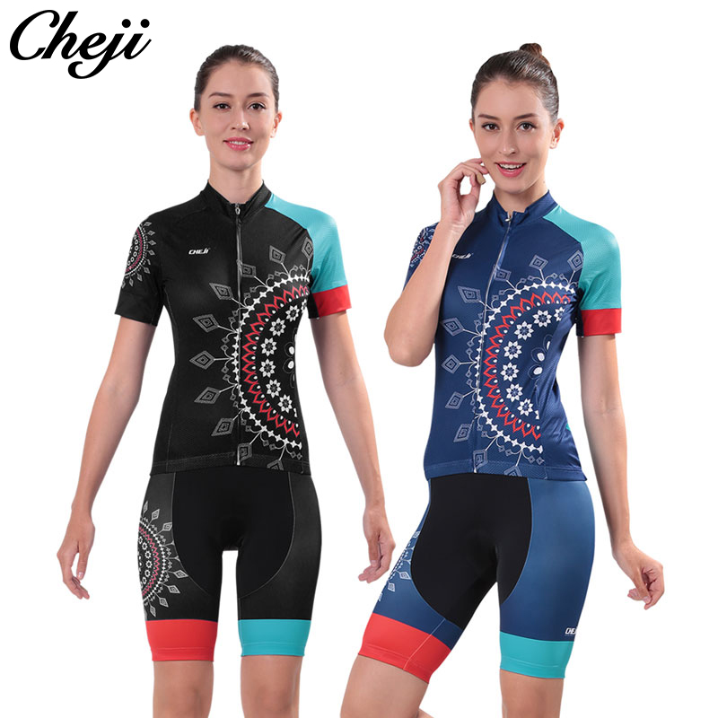 Cycling Clothing 2017 Cheji Women Pro Cycling Short Jersey Shorts Sets All size blue/black Color Ropa de ciclismo