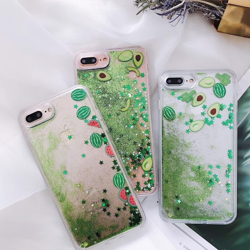For iPhone XR Case Watermelon Avocado Cactus Glitter