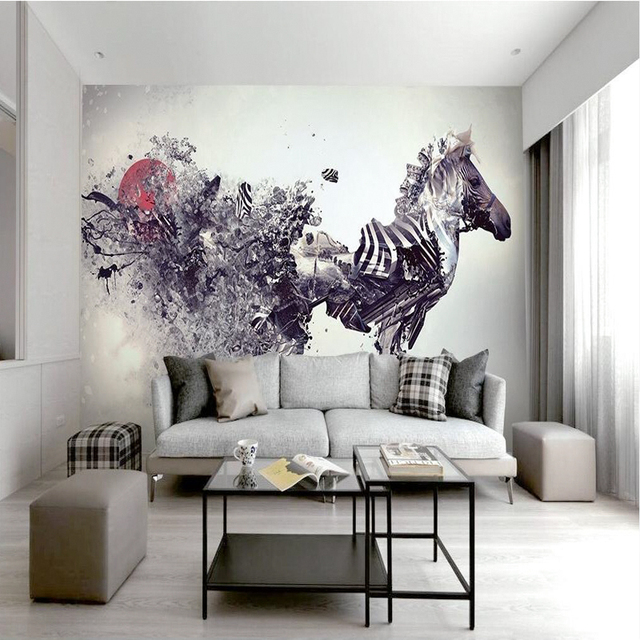 3D Murals Non Woven Top Quality Abstract Zebra Explosion Effects Wallpapers Nordic Fashion Modern TV