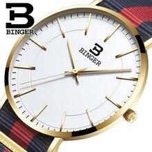 Швейцария BINGER мужчины часы люксовый бренд ультратонкий ограниченным тиражом Водонепроницаемый любителей кварцевые Наручные Часы B-3050M-3