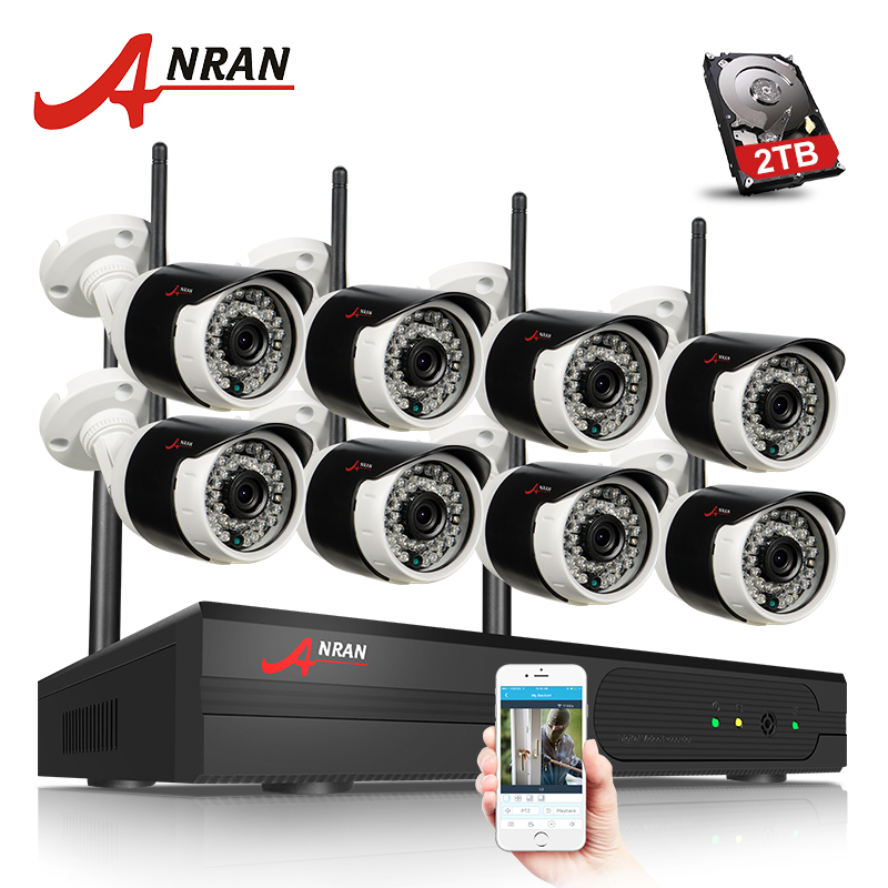 ANRAN Plug And Play Wireless Security System 8CH NVR Kit 2TB HDD P2P 720P HD Outdoor IR Night Vision Surveillance IP Camera anran plug and play 8ch wireless nvr surveillance kit p2p 720p hd outdoor ir night vision security ip camera wifi cctv system