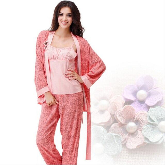 3 шт. женщин пижамы установить с длинным рукавом женщин пижамы осень и зима хлопка роковой Pijama Mujer