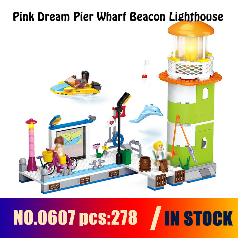 Compatible with lego Models building 0607 278pcs Friend Pink Dream Pier Wharf Beacon Lighthouse Building Blocks toys & hobbies