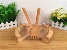New Glass Salad Bowl with Bamboo Fork Wooden Botton for Hotel Fruit Dessert Bowl Creative Household Tableware