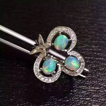 Natural opal gem Ring Natural gemstone ring 925 sterling silver trendy Elegant cute butterfly Clover women girl gift Jewelry