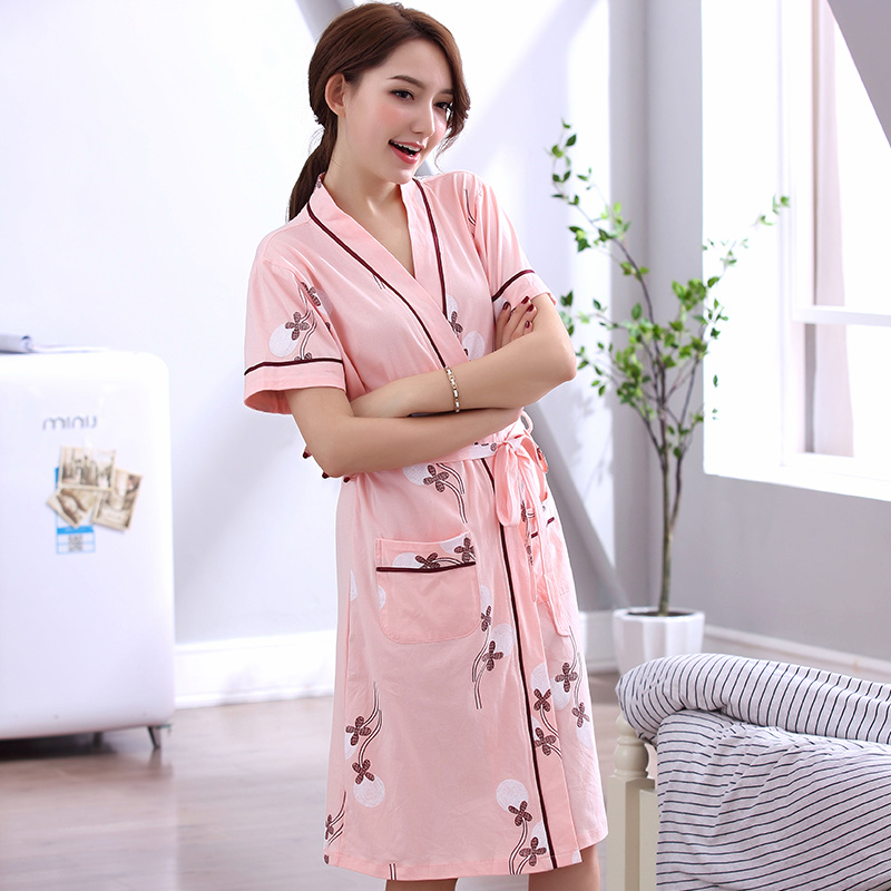 Newest Summer 100%Cotton Women Bathrobe Short Sleeve V-neck Casual Cardigan Loose Sexy Female Nightgown Robe Plus Size L-XXXL