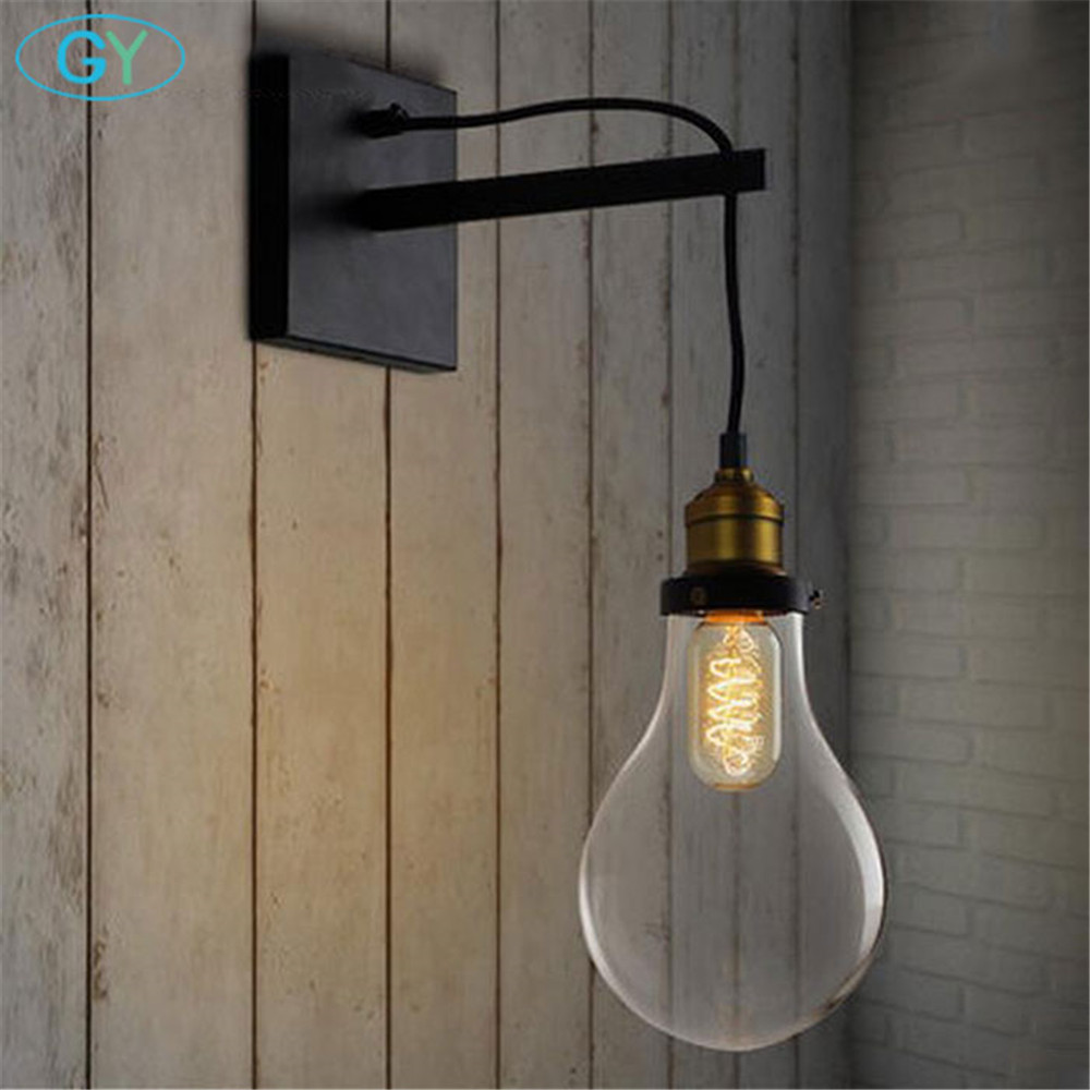 Здесь продается  Vintage Edison bulb wall light Retro American Europe Style Bedroom Living Room Wall lamp Black Metal glass shade wall sconces  Свет и освещение