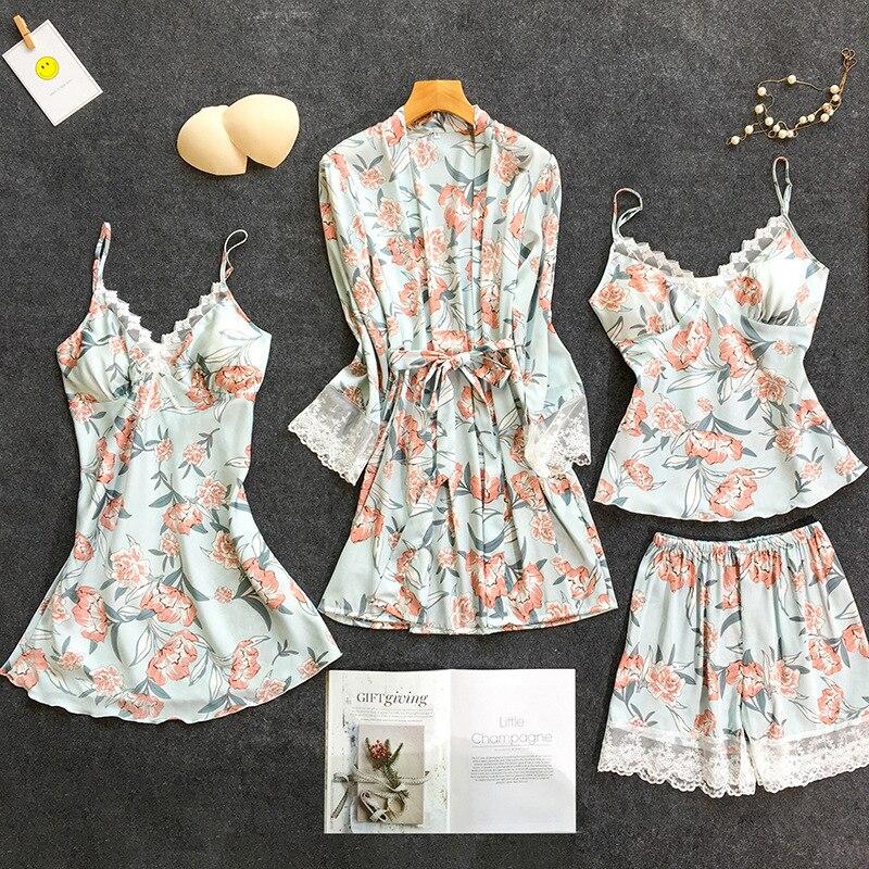 Femmes blanches 4 PC sangle Top pantalon costume pyjamas ensembles de vêtements de nuit printemps maison porter des vêtements de nuit Sexy Kimono Robe Robe de bain peignoir