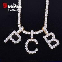 ЦИРКОНИЕВЫЕ теннисные буквы ожерелья и кулон для мужчин/женщин золото серебро Цвет Мода хип хоп ювелирные изделия с 4 мм теннисная цепь