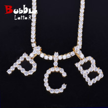 Hip-Hop Jewelry Pendant Necklaces Zircon Tennis-Chain Gold Silver-Color Fashion Men/women