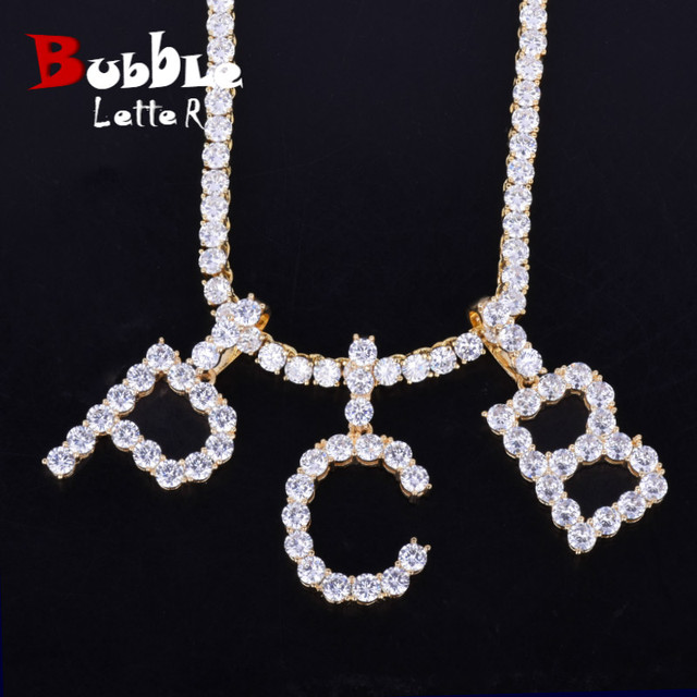 Zircon Tennis Letters Necklaces & Pendant For Men/Women Gold Silver Color Fashion Hip Hop Jewelry with 4mm Tennis Chain