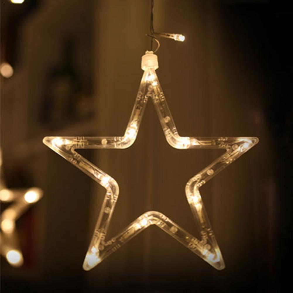 LED lights five-pointed star curtain lights stars wedding birthday X-mas lights indoor Warm white EU220V Curtain String light