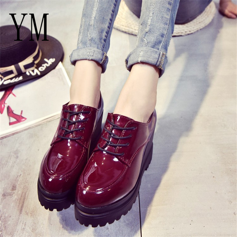 2 Color Creepers Plataforma Charol Negro Femenino Mujeres De Tacones Cuña Otoño Calzado Zapato Slip Hasta Casual Luce On rojo Señoras Zapatos ddIqwfrHxt