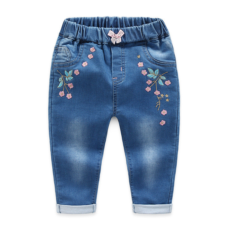 Jiuhehall Spring Children Jeans For Baby Girl Flowers Embroidered Kids Cowboy Pants Children\'s Elastic Waist Trousers CMB970 (3)