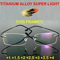 =GENUINE=Brand Titanium 2g!! super light Optical Glasses Frame Rimless Ultra Light Reading Glasses +1 +1.5 +2 +2.5 +3 +3.5 +4