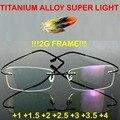 = = Genuino marca titanium 2g!! súper ligero Marco de Los Vidrios Ópticos Sin Rebordes Ultraligero Gafas de Lectura + 1 + 1.5 + 2 + 2.5 + 3 + 3.5 + 4