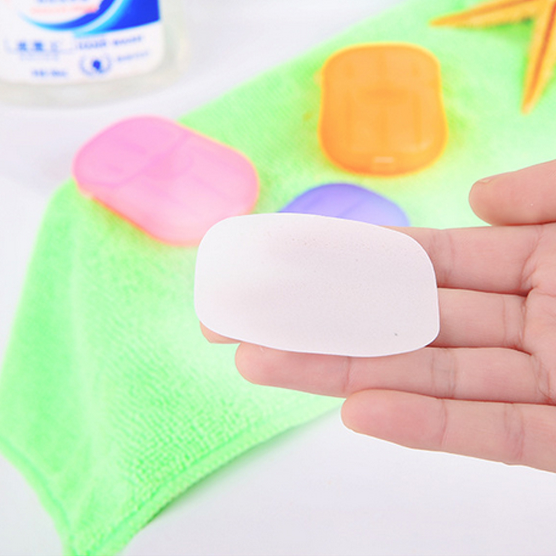 Soap Paper 20pcs Disposable Boxed Travel Portable Outdoor Hand Washing Cleaning Scented Slice Sheets Mini Paper Soap Random