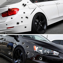 21cmx30cm Car Styling 3D Bullet Hole Sticker Simulation Scratch Decal Waterproof Stickers For Automobiles/Motorcycle