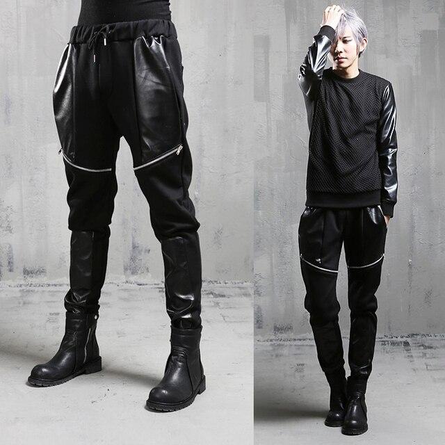 Free shipping! Nightclub bar singer stage clothing fashion male stylist character haroun pants DJ rock pants male M - XXL