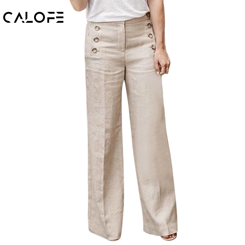 CALOFE 2019 Women Fashion New Linen Cotton   Wide     Leg     Pants   Solid Casual High Waist Full-length   Pants   Buttons Breathable Trouser