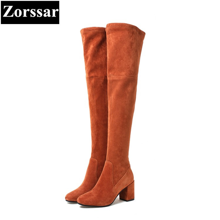 {Zorssar} NEW arrival fashion 7CM High heels Women over the knee Boots Round toe thick heel snow boots autumn winter female shoe 2016 autumn winter hot selling royal blue suede over the knee high heel boots round toe thick heels high boots for woman